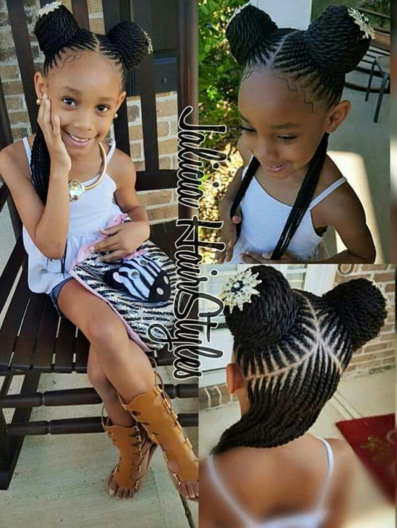 Black girl's hair style braids and buns