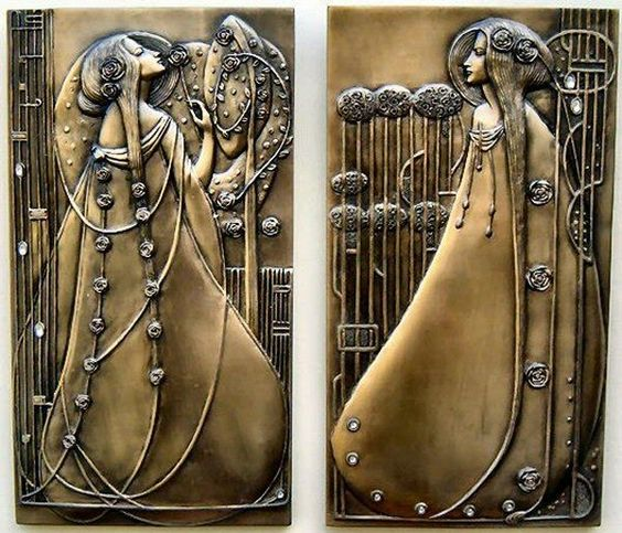 """Bronzed Art Pair of Wall Plaques inspired by the 1900's Art Nouveau period in the style of Rennie Mackintosh Beautifully Sculpted and made from Cold Cast Resin with a Bronzed finish Size: 9.5/8"""" x 5.1/4"""" inches 24.5cm x 13cm Our Price: £29.99"""
