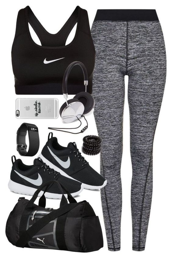 """Outfit for the gym"" by ferned on Polyvore featuring Topshop, NIKE, Puma, Fitbit, Forever 21, Casetify and Invisibobble:"