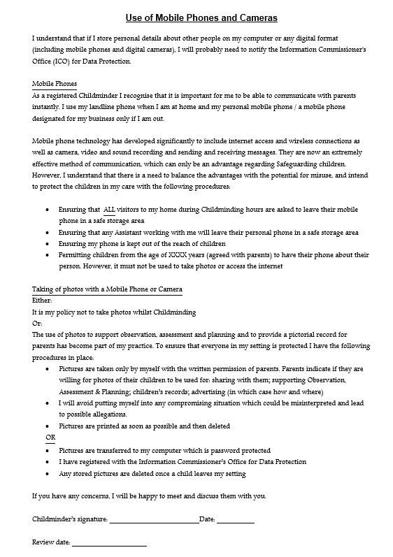 Cell Phone Policy Template For Companies Corporate