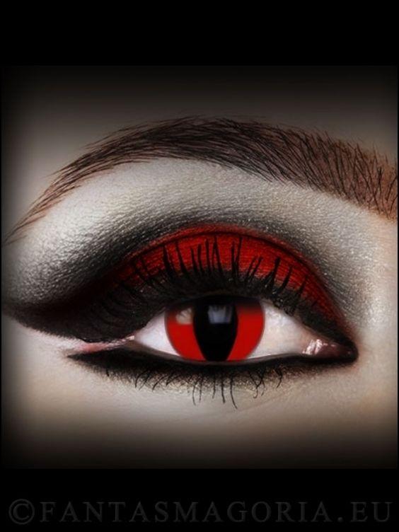 Devil Cat contact lenses - Black&Red (pair)