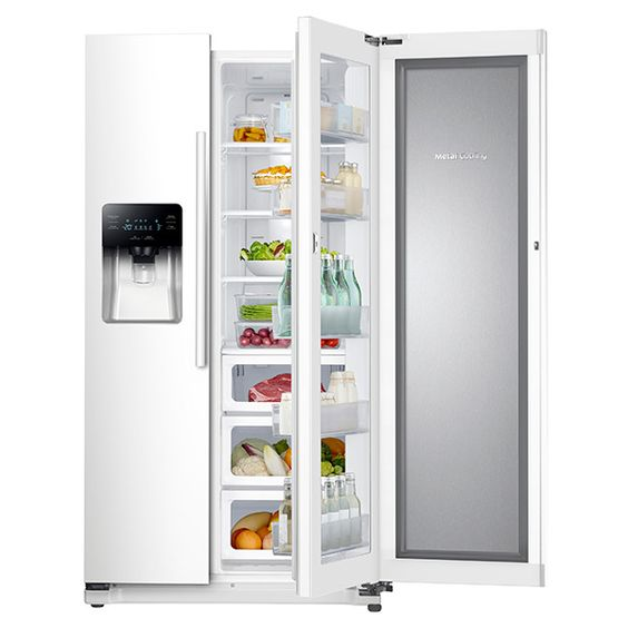 "36""-Wide, 24.7 cu. ft. Capacity Side-by-Side Food ShowCase Refrigerator with Metal Cooling (White)"
