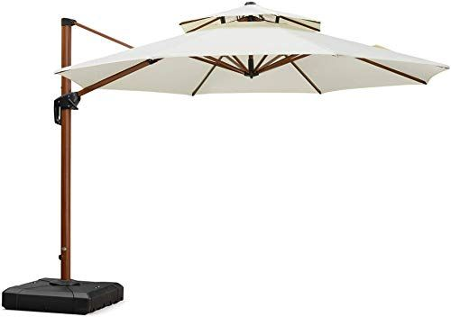 New Purple Leaf 11 Feet Double Top Deluxe Wood Pattern Patio Umbrella Offset Hanging Umbrella Cantilever Umbrella Outdoor Market Umbrella Garden Umbrella Cream In 2020 Market Umbrella Patio Umbrella Cantilever Umbrella