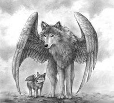 wolf with pup with wings sketches - Google Search