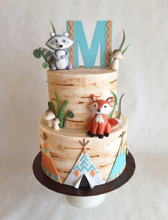 Birthday cake | buttercream | birch | tree | custom toppers | raccoon | fox | teepee | fiddleheads | mushrooms | fondant