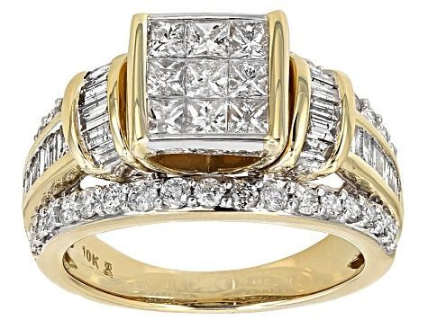 White Diamond 10k Yellow Gold Ring 2 00ctw Rgd022 Yellow Gold Rings White Diamond Gold Rings