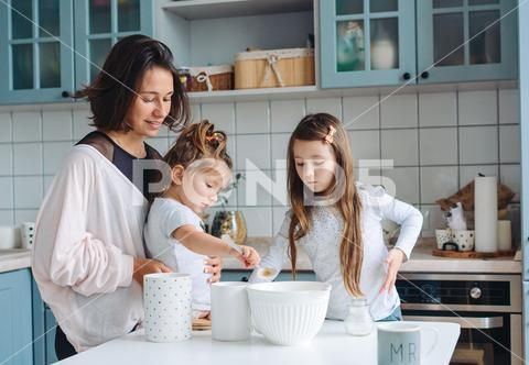 Happy Family Cook Together In The Kitchen Stock Photos Ad Cook Family Happy Photos