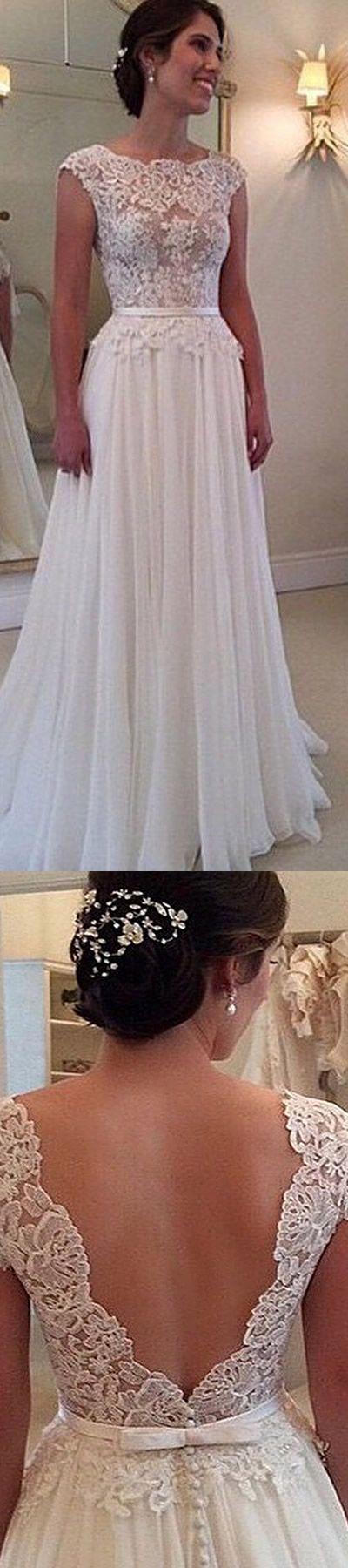 Sexy Backless Semi Sheer Lace Bodice Bateau Neck Low V Back Chiffon Wedding Dress,beach wedding dresses, bridal gown, open back wedding dresses