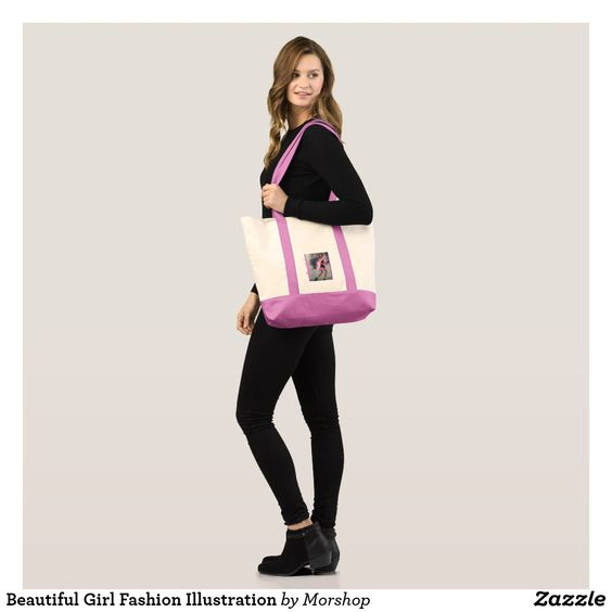 Beautiful Girl Fashion Illustration Tote Bag