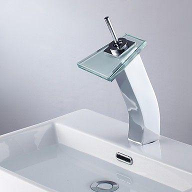 zeitgenssische Wasserfall Waschbecken Wasserhahn mit Glasauslauf (gro)