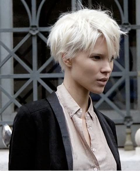 Hairstyle Trends Edgy Platinum Blond Short Hair Messy Long Crop Pixie Haircut 2010 2011 Pictures