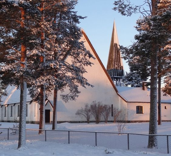 Pello Church in the centre of the parish village in Finnish Lapland