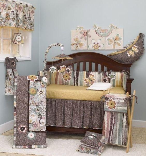 Brown Floral Bettwäsche für Mädchen-Raum und Kindergarten