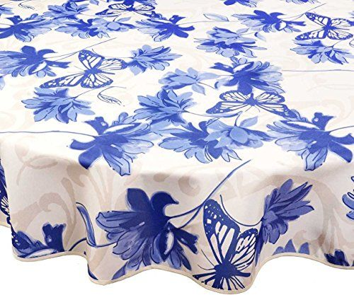 Texstyles Round Tablecloths Outdoor Tablecloths Poly You Can Wipe Clean Like Vinyl Tablecloths Brize Blue Outdoor Tablecloth Vinyl Tablecloth Round Tablecloth