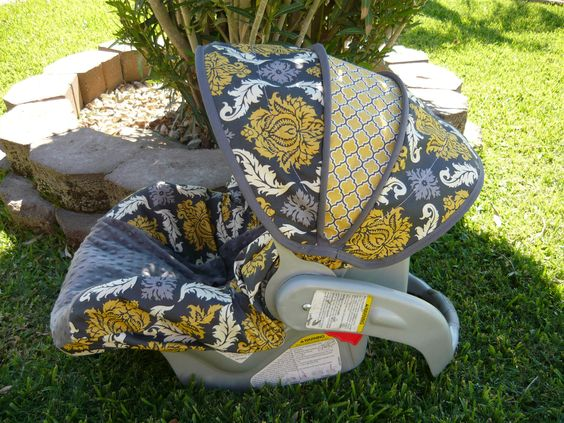 Granite Damask with Charcoal Infant Car Seat Cover by sewcuteinaz, $65.00