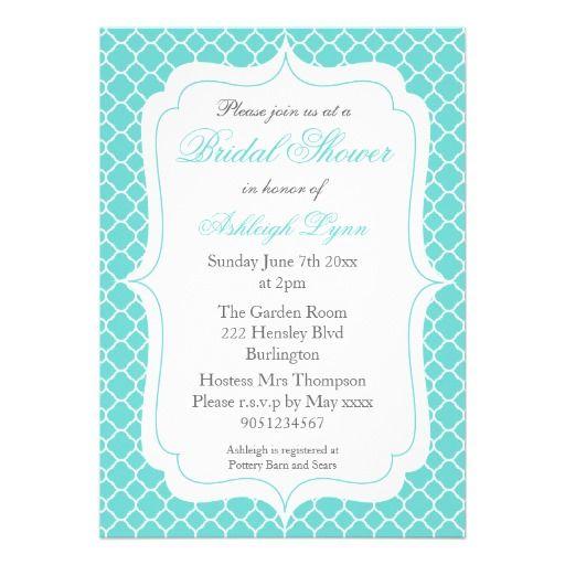 Modern Aqua Quatrefoil Bridal Shower Invitations #bridalshower #wedding #quatrefoil #aqua #invitations