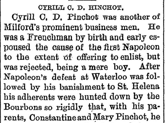 brief bio of C.C.D. Pinchot - The evening gazette., February 14, 1890, Page 1.  Click through to read the complete article.