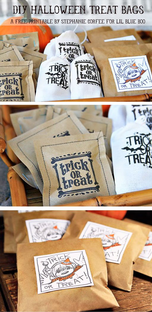 Make your own Halloween Treat bags with this free printable download by artist Stephanie Corfee via lilblueboo.com: