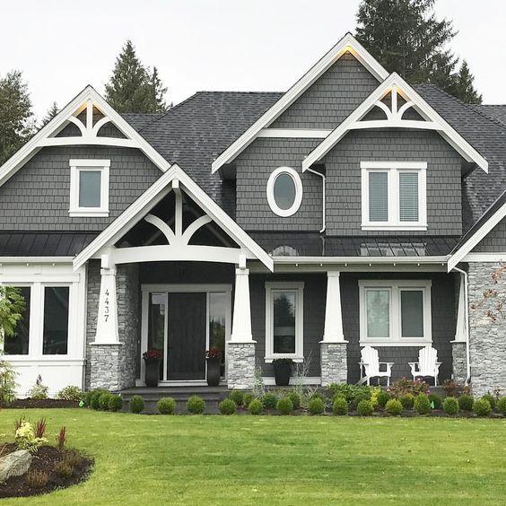 White Trim Grey Siding Decorative Pitch Gray House Exterior House Paint Exterior Exterior House Paint Color Combinations