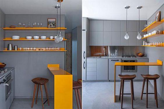 8 ideas para una barra en la cocina  Para una barra visulamente liviana existen opciones en chapa que puede colorearse con pintura…: