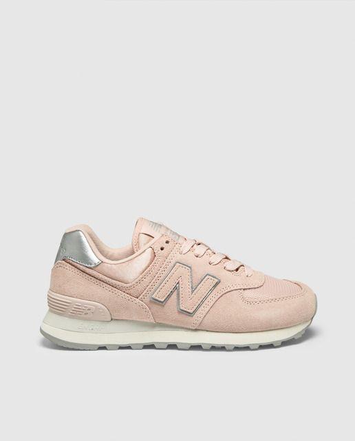 Zapatillas de serraje de mujer 574 New Balance de color rosa ...