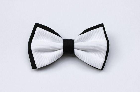Papillon uomo, bianco e nero, cucito a mano di Scocca Papillon su DaWanda.com