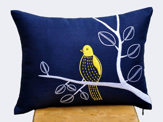 Yellow Bird Throw Pillows : Bird on Branch Lumbar Pillow Cover, Decorative Pillow Cover, Navy Blue Linen Pillow, Yellow Bird ...