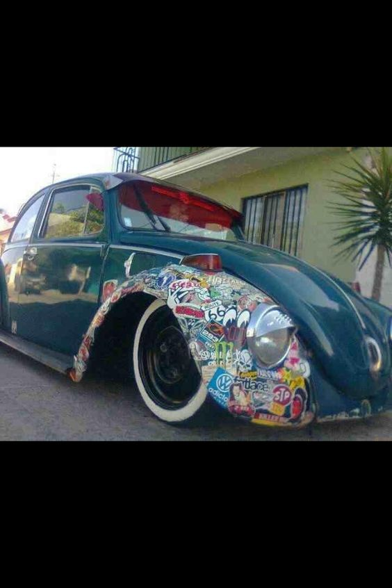 Beetle sticker bombed