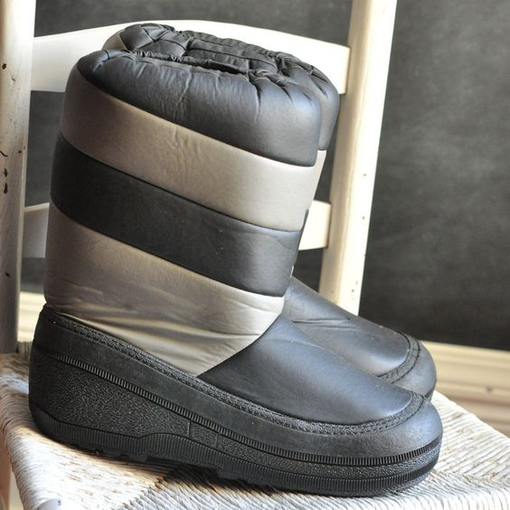Vintage Moon Boots Mens 80s Grey and Black Like NEW size 11-12 ...