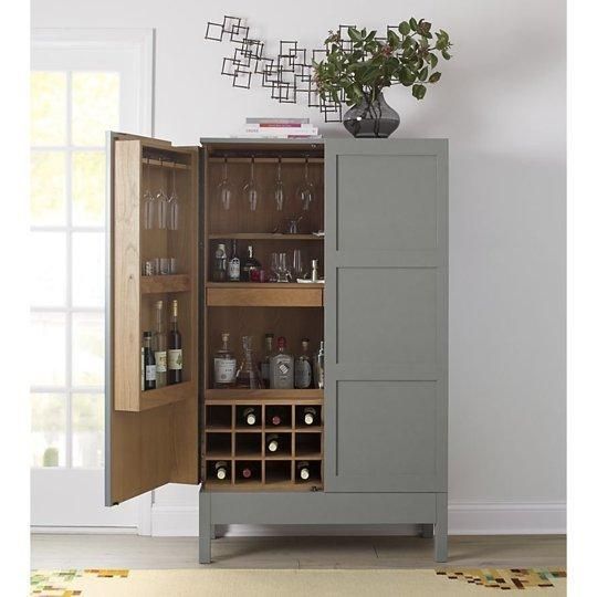 Victuals grey bar cabinet by russell pinch for crate for Kitchen cabinets lowes with crate and barrel wall art sale