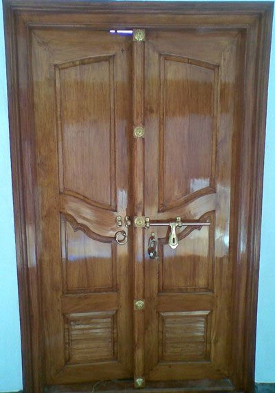 Door design wooden door design and wooden doors on pinterest for Double door design catalogue