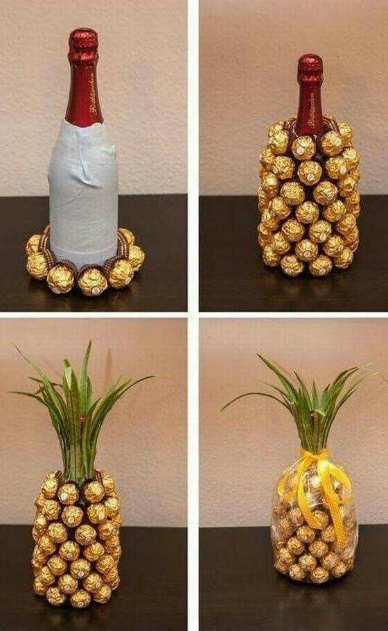Wine and Chocolate pineapple. No instructions but pretty easy to figure out from pictures. Cool idea!