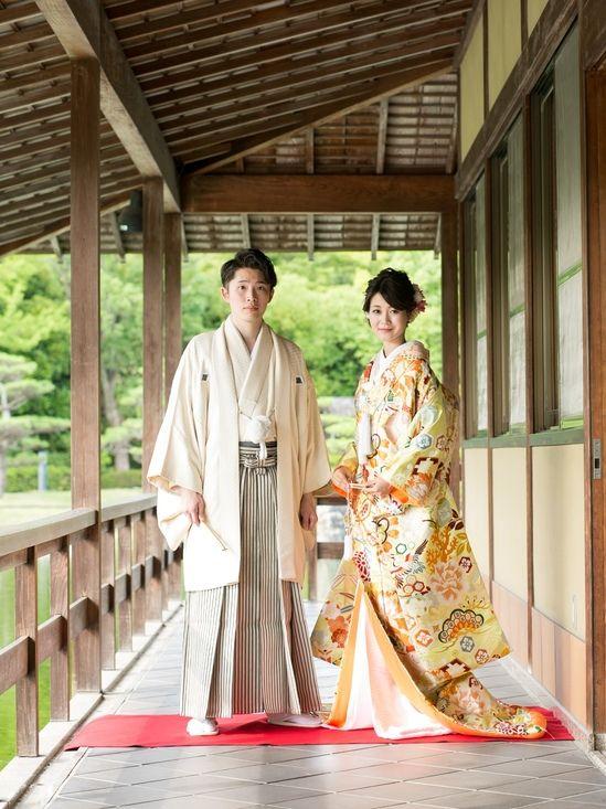 和装前撮り 大阪大仙公園でロケーション撮影された新郎新婦様 色打掛2
