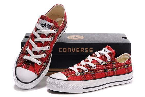 converse tartan | Red Plaid Converse All Star Scotland Low Tops Canvas Shoes