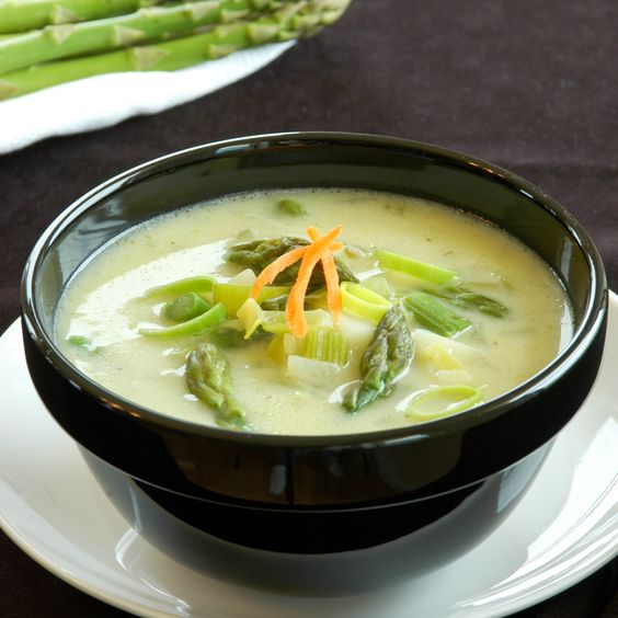 How To Make Cream of Asparagus Soup II - Trim the coarse ends of the asparagus and cut asparagus into one inch pieces. In a medium skillet over medium high heat, saute the asparagus in 1 cup of the broth for about 7 minutes, or until tender.