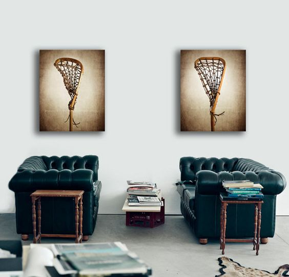 Set of two vintage lacrosse sticks photo prints for 8x10 bedroom ideas