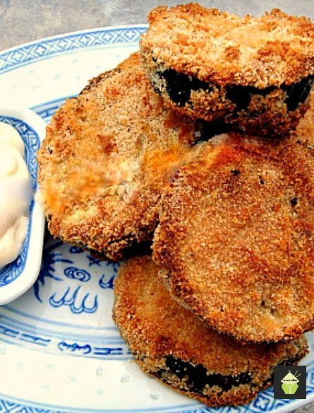 Tasty Baked Eggplant. No frying and great flavor and crunch. Add your favorite dipping sauce and enjoy! #baked #eggplant #sides