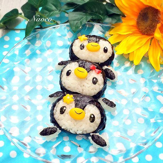 naocoisa's dish photo ペンギンたちの海水浴 | http://snapdish.co #SnapDish #お弁当 #キャラ弁 #お昼ご飯 #離乳食/幼児食