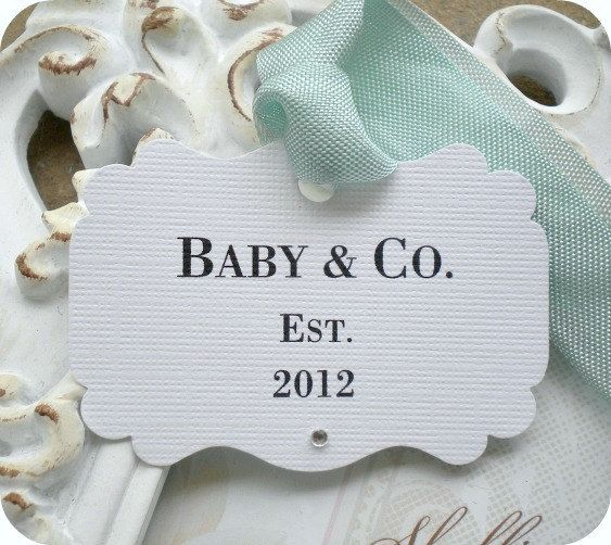 Personalized baby co tags 10 bride and co baby gift tags tiffany and co personalized baby co shower favor tags negle Images