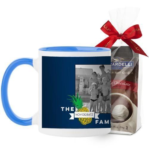 Pineapple Stamp Mug, Light Blue, with Ghirardelli Premium Hot Cocoa, 11 oz, Blue
