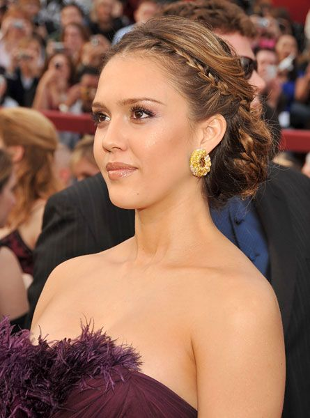 Remarkable Oscar Hairstyles Jessica Alba Makeup And Front Braids On Pinterest Short Hairstyles Gunalazisus