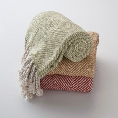 Collection of Cotton Herringbone Throws with Hand Twisted Fringe