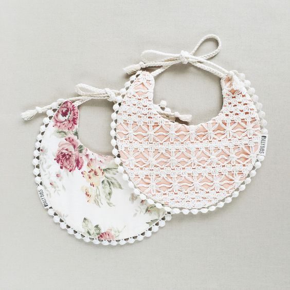 Pretty floral detailed Baby girl drool bibs. 2 in 1. Would be a cute gift for a baby shower. | Www.billybibs.com