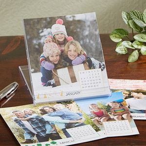 You can create your own desktop calendar with your favorite photos - great gift idea for moms or dads to have on their desk at work!: