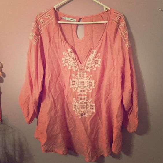 Maurices pink blouse Pink blouse with with and gray embroidery. 3/4 sleeve. Light weight. Worn once Maurices Tops Blouses