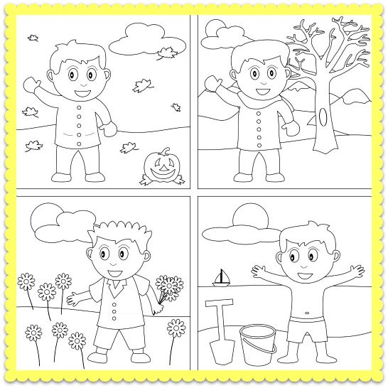 A Four Seasons Coloring Worksheet and Seasons Song for Kids Lets – Seasons Worksheet for Kindergarten
