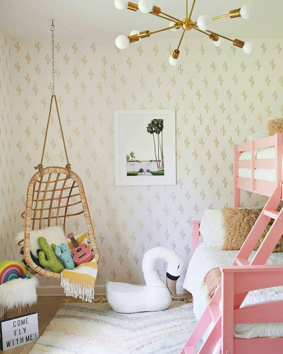 Love the swing! Love the pendant light! Love the pink bunk bed! Beautiful styling by @elsielarson   Grimm's wooden stacking rainbow in those amazing pastel colours is available now on Milk Tooth x