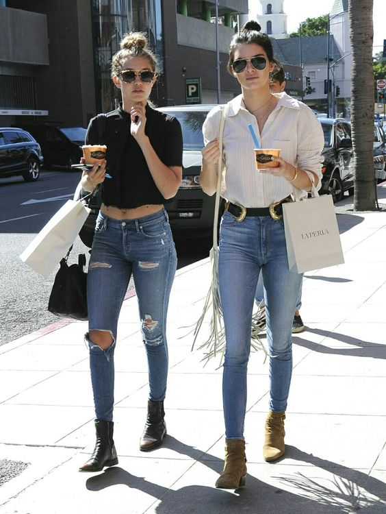 Gigi Hadid and Kendall Jenner street style - out and about shopping in plain shirts and high waisted jeans!: