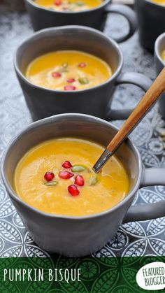Fall flavor abounds in this gluten-free, dairy-free Pumpkin Bisque recipe garnished with pomegranate arils and roasted pepitas. Perfect soup to make on a chilly fall or winter day, or for a Christmas or Thanksgiving dinner starter.