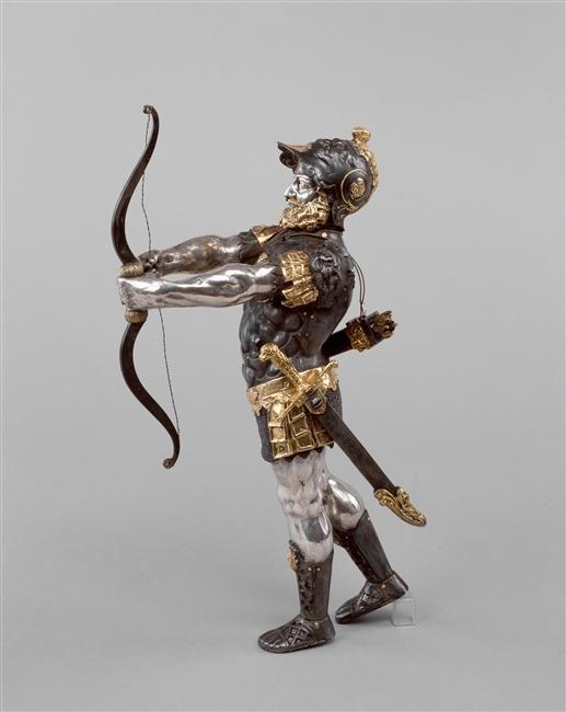 Archer-automate, 2e tiers 16e siècle. Acier, argent (métal), bronze, cuivre (métal), doré, or (métal), sculpture (technique). -Musée de la Renaissance, château d'Ecouen-